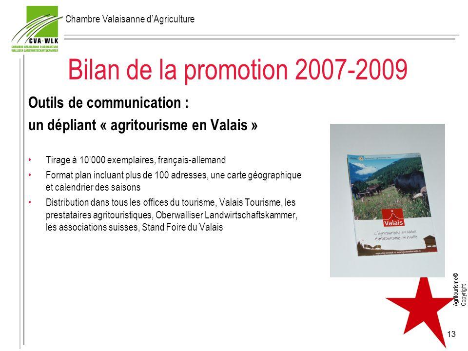 Agritourisme© Copyright 13 Bilan de la promotion 2007-2009 Outils de communication : un dépliant « agritourisme en Valais » Tirage à 10000 exemplaires