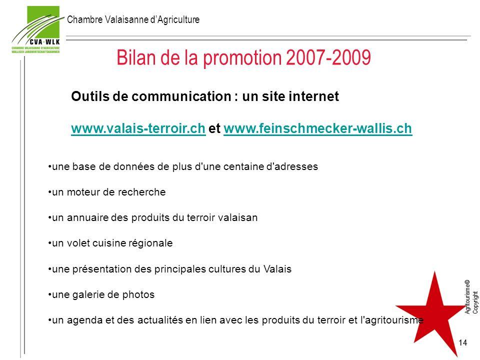 Agritourisme© Copyright 14 Bilan de la promotion 2007-2009 Agritourisme© Copyright 14 Outils de communication : un site internet www.valais-terroir.ch
