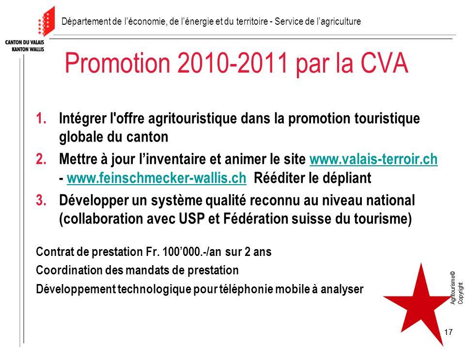 Agritourisme© Copyright 17 Agritourisme© Copyright 17 Promotion 2010-2011 par la CVA 1.Intégrer l'offre agritouristique dans la promotion touristique