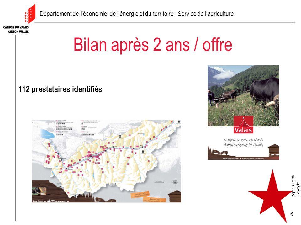 Agritourisme© Copyright 6 Bilan après 2 ans / offre 112 prestataires identifiés Département de léconomie, de lénergie et du territoire - Service de la