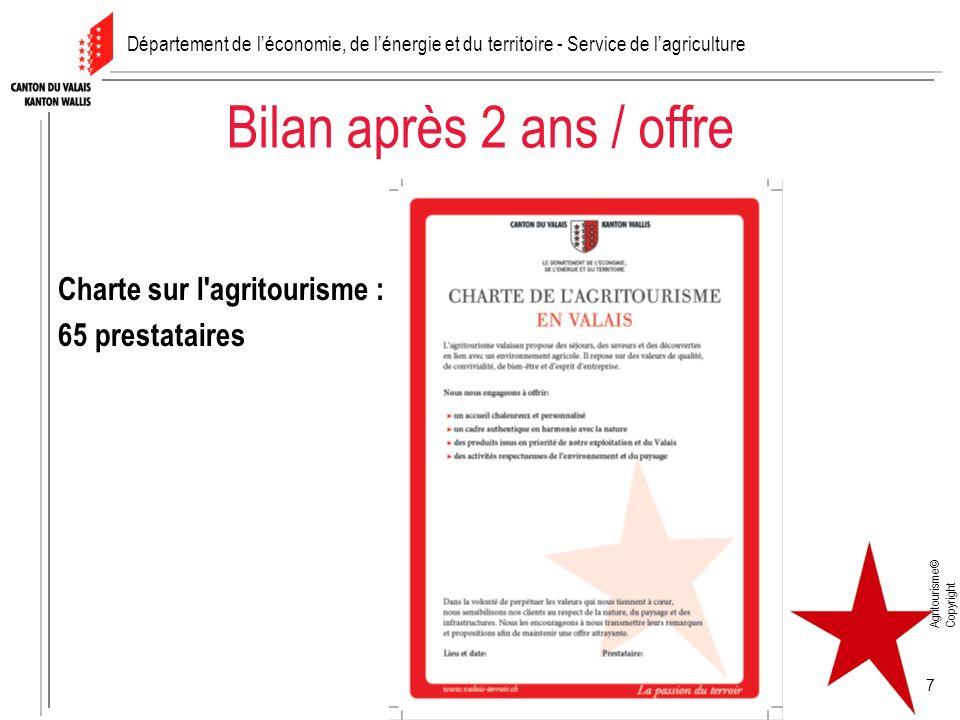 Agritourisme© Copyright 7 Bilan après 2 ans / offre Charte sur l agritourisme : 65 prestataires Département de léconomie, de lénergie et du territoire - Service de lagriculture