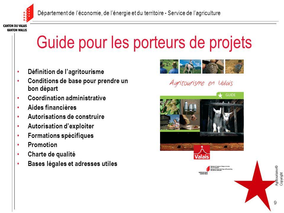 Agritourisme© Copyright 9 Guide pour les porteurs de projets Définition de lagritourisme Conditions de base pour prendre un bon départ Coordination ad