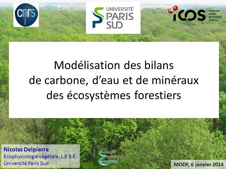 MODF, 6 janvier 2014 Modélisation des bilans de carbone, deau et de minéraux des écosystèmes forestiers Nicolas Delpierre Ecophysiologie végétale, L.E.S.E.