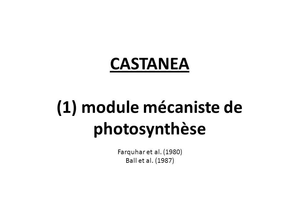 CASTANEA (1) module mécaniste de photosynthèse Farquhar et al. (1980) Ball et al. (1987)