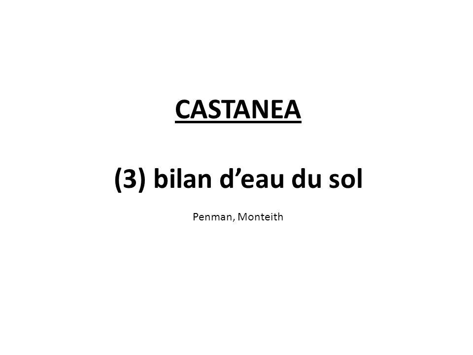 CASTANEA (3) bilan deau du sol Penman, Monteith