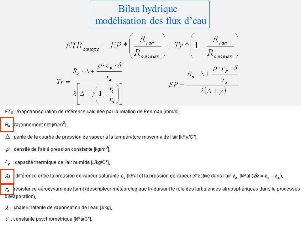 Bilan hydrique modélisation des flux deau