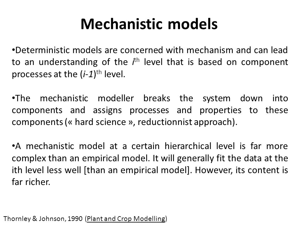 Modèles (mécanistes de fonctionnement) synthèse des connaissances test dhypothèses