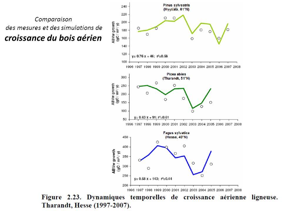 Comparaison des mesures et des simulations de croissance du bois aérien