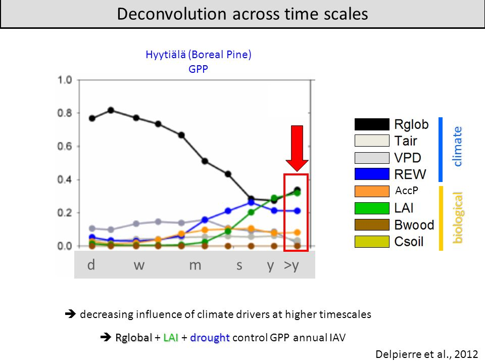 decreasing influence of climate drivers at higher timescales Deconvolution across time scales Hyytiälä (Boreal Pine) GPP dwmsy>y climate biological AccP RglobalLAIdrought Rglobal + LAI + drought control GPP annual IAV Delpierre et al., 2012
