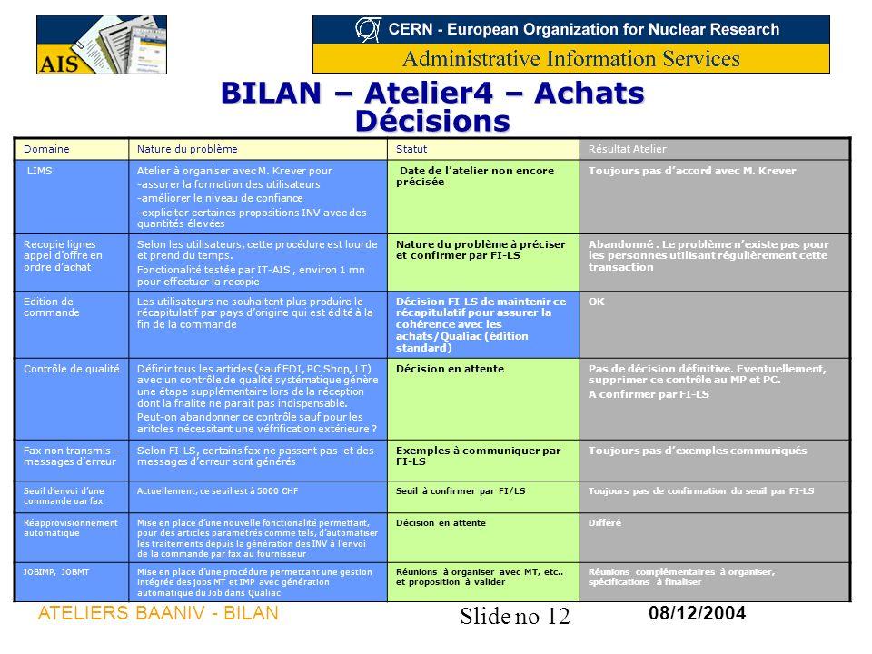 Slide no 12 08/12/2004ATELIERS BAANIV - BILAN BILAN – Atelier4 – Achats Décisions DomaineNature du problèmeStatutRésultat Atelier LIMSAtelier à organiser avec M.