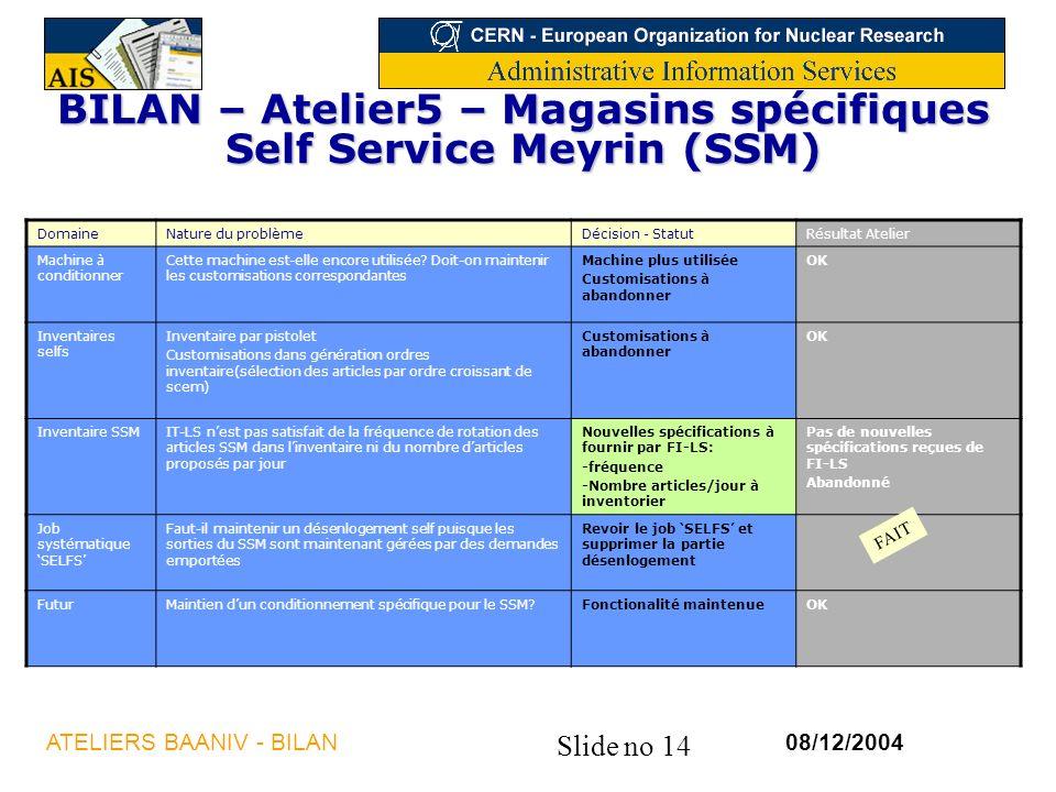 Slide no 14 08/12/2004ATELIERS BAANIV - BILAN BILAN – Atelier5 – Magasins spécifiques Self Service Meyrin (SSM) DomaineNature du problèmeDécision - StatutRésultat Atelier Machine à conditionner Cette machine est-elle encore utilisée.