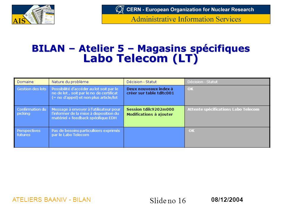 Slide no 16 08/12/2004ATELIERS BAANIV - BILAN BILAN – Atelier 5 – Magasins spécifiques Labo Telecom (LT) DomaineNature du problèmeDécision - Statut Gestion des lotsPossibilité daccéder au lot soit par le no de lot, soit par le no de certificat (= no dappel) et non plus article/lot Deux nouveaux index à créer sur table tdltc001 OK Confirmation du picking Message à envoyer à lutilisateur pour linformer de la mise à disposition du matériel + feedback spécifique EDH Session tdilc9202m000 Modifications à ajouter Attente spécifications Labo Telecom Perspectives futures Pas de besoins particulkiers exprimés par le Labo Telecom OK