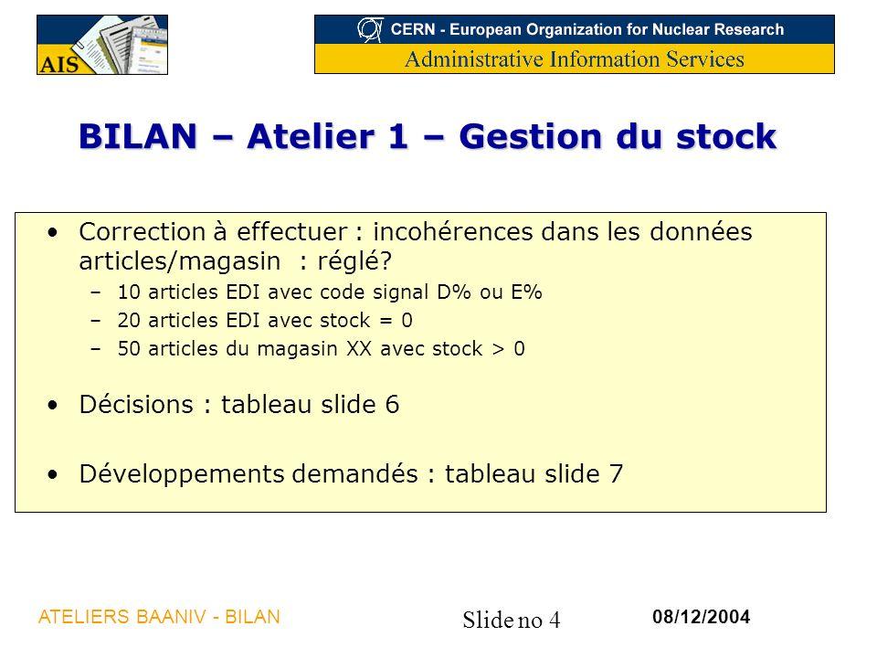 Slide no 4 08/12/2004ATELIERS BAANIV - BILAN BILAN – Atelier 1 – Gestion du stock Correction à effectuer : incohérences dans les données articles/magasin : réglé.
