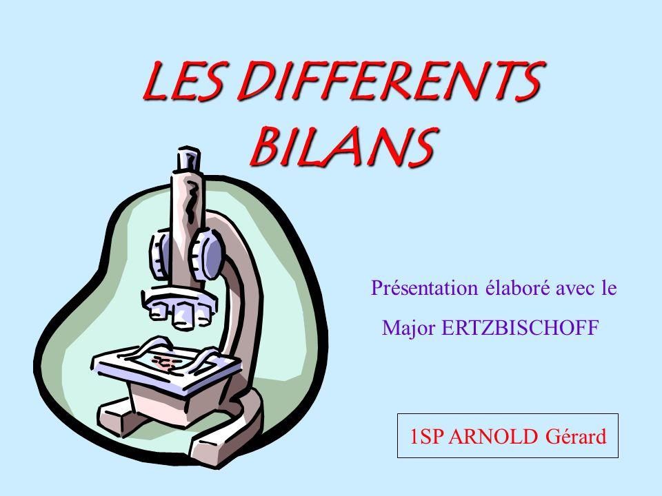 LES DIFFERENTS BILANS 1SP ARNOLD Gérard Présentation élaboré avec le Major ERTZBISCHOFF