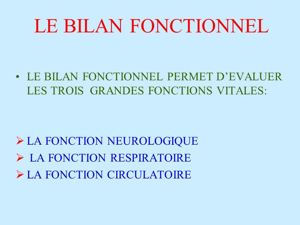 LE BILAN FONCTIONNEL LE BILAN FONCTIONNEL PERMET DEVALUER LES TROIS GRANDES FONCTIONS VITALES: LA FONCTION NEUROLOGIQUE LA FONCTION RESPIRATOIRE LA FONCTION CIRCULATOIRE
