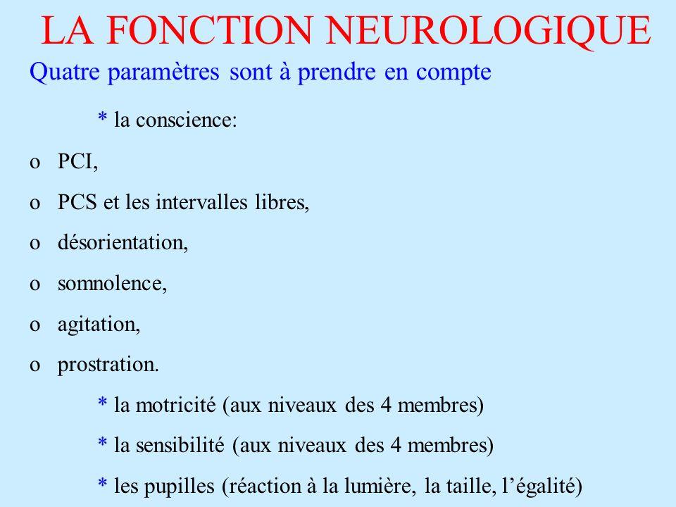 LA FONCTION NEUROLOGIQUE Quatre paramètres sont à prendre en compte * la conscience: o PCI, o PCS et les intervalles libres, o désorientation, o somno