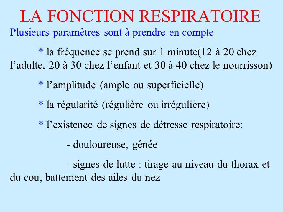 LA FONCTION RESPIRATOIRE Plusieurs paramètres sont à prendre en compte * la fréquence se prend sur 1 minute(12 à 20 chez ladulte, 20 à 30 chez lenfant et 30 à 40 chez le nourrisson) * lamplitude (ample ou superficielle) * la régularité (régulière ou irrégulière) * lexistence de signes de détresse respiratoire: - douloureuse, gênée - signes de lutte : tirage au niveau du thorax et du cou, battement des ailes du nez