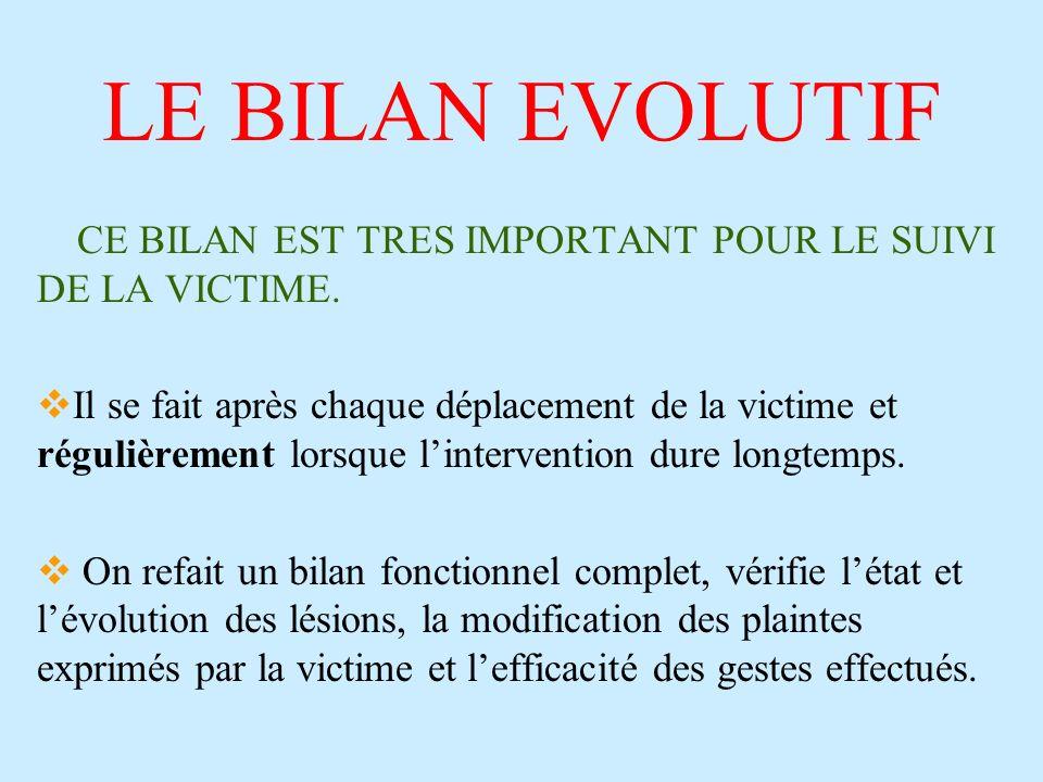 LE BILAN EVOLUTIF CE BILAN EST TRES IMPORTANT POUR LE SUIVI DE LA VICTIME. Il se fait après chaque déplacement de la victime et régulièrement lorsque