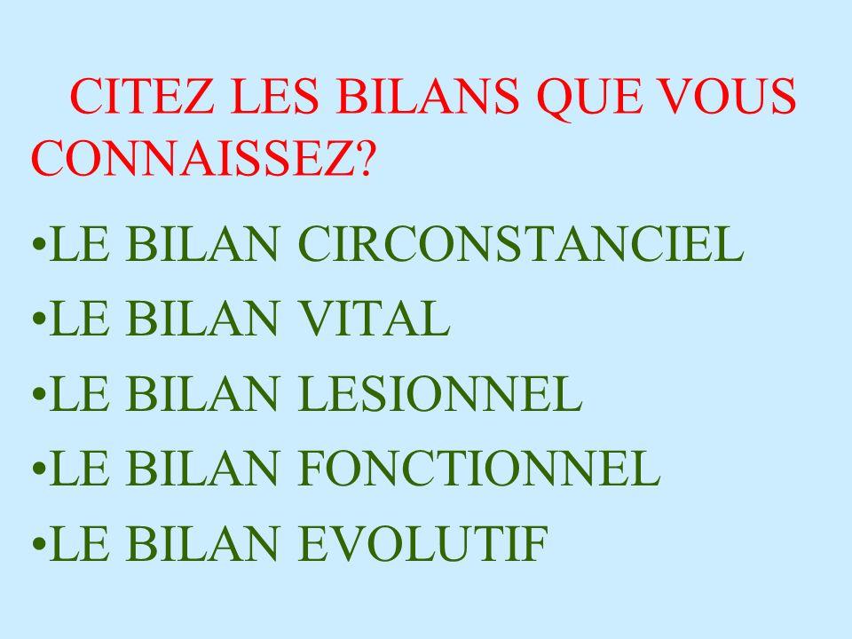 CITEZ LES BILANS QUE VOUS CONNAISSEZ? LE BILAN CIRCONSTANCIEL LE BILAN VITAL LE BILAN LESIONNEL LE BILAN FONCTIONNEL LE BILAN EVOLUTIF