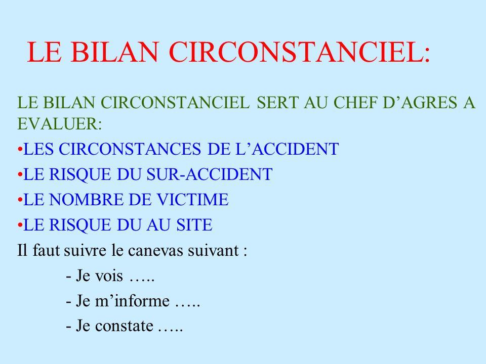 LE BILAN CIRCONSTANCIEL: LE BILAN CIRCONSTANCIEL SERT AU CHEF DAGRES A EVALUER: LES CIRCONSTANCES DE LACCIDENT LE RISQUE DU SUR-ACCIDENT LE NOMBRE DE
