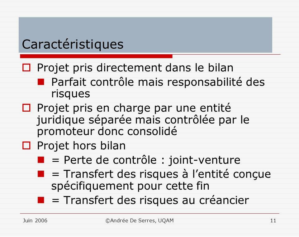 Juin 2006©Andrée De Serres, UQAM11 Caractéristiques Projet pris directement dans le bilan Parfait contrôle mais responsabilité des risques Projet pris