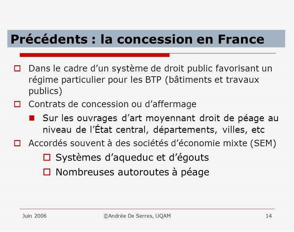 Juin 2006©Andrée De Serres, UQAM14 Les concessions en France Dans le cadre dun système de droit public favorisant un régime particulier pour les BTP (
