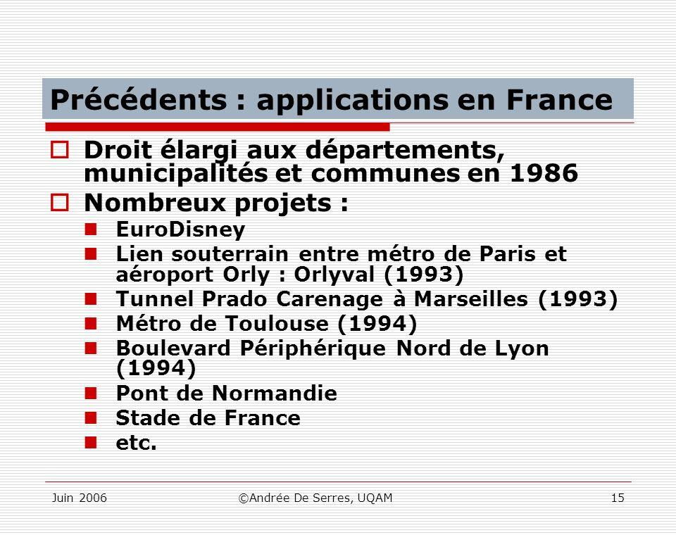 Juin 2006©Andrée De Serres, UQAM15 Précédents : applications en France Droit élargi aux départements, municipalités et communes en 1986 Nombreux proje