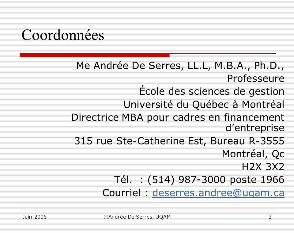 Juin 2006©Andrée De Serres, UQAM2 Coordonnées Me Andrée De Serres, LL.L, M.B.A., Ph.D., Professeure École des sciences de gestion Université du Québec