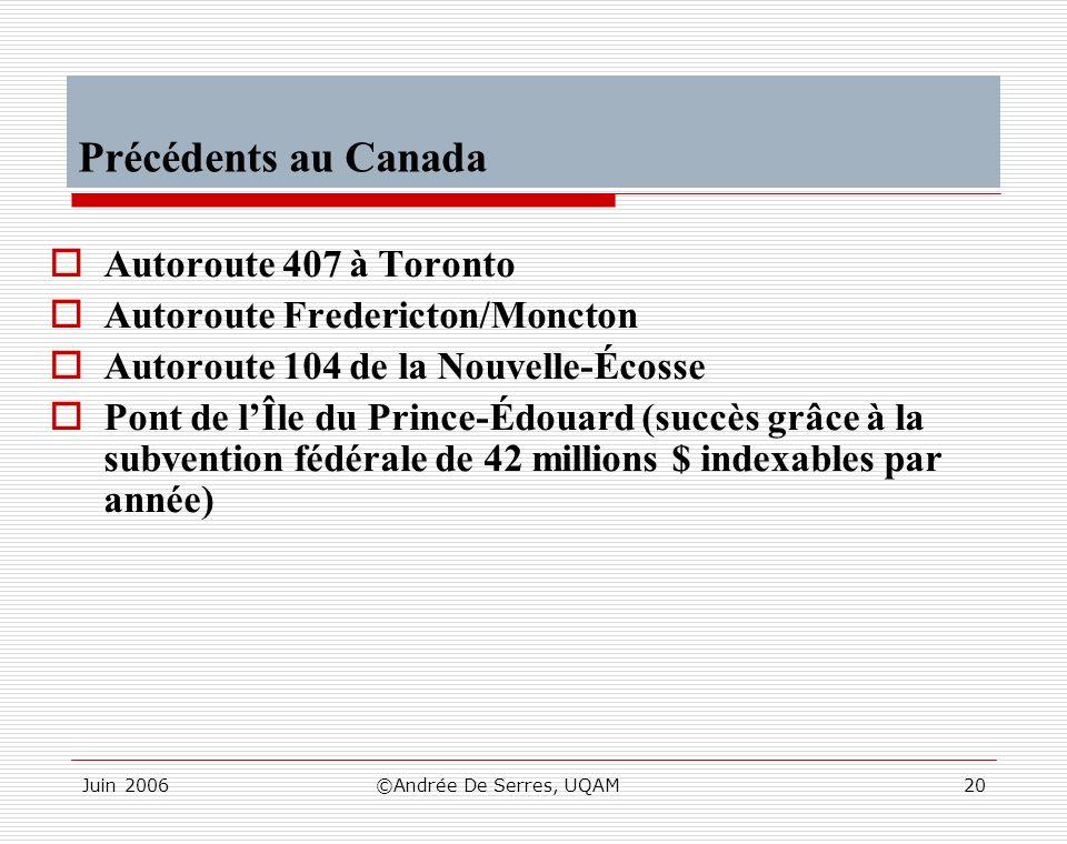 Juin 2006©Andrée De Serres, UQAM20 Précédents au Canada Autoroute 407 à Toronto Autoroute Fredericton/Moncton Autoroute 104 de la Nouvelle-Écosse Pont