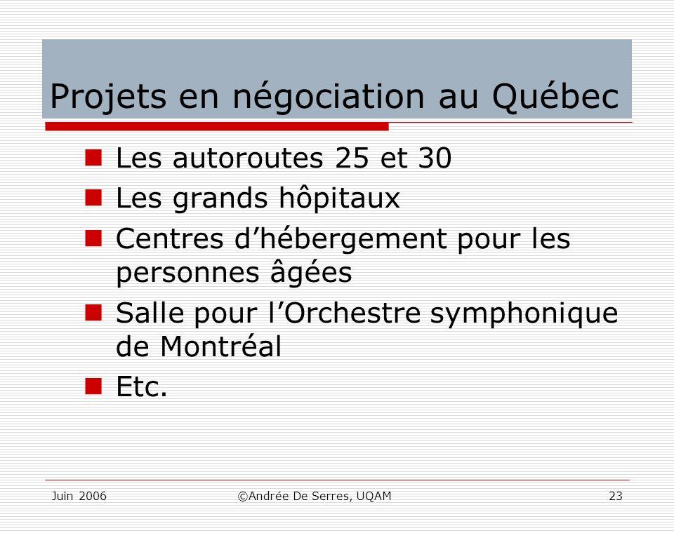 Juin 2006©Andrée De Serres, UQAM23 Projets en négociation au Québec Les autoroutes 25 et 30 Les grands hôpitaux Centres dhébergement pour les personne