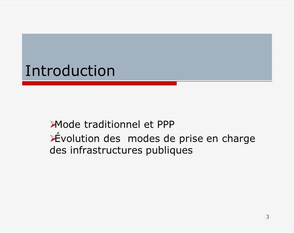 3 Introduction Mode traditionnel et PPP Évolution des modes de prise en charge des infrastructures publiques