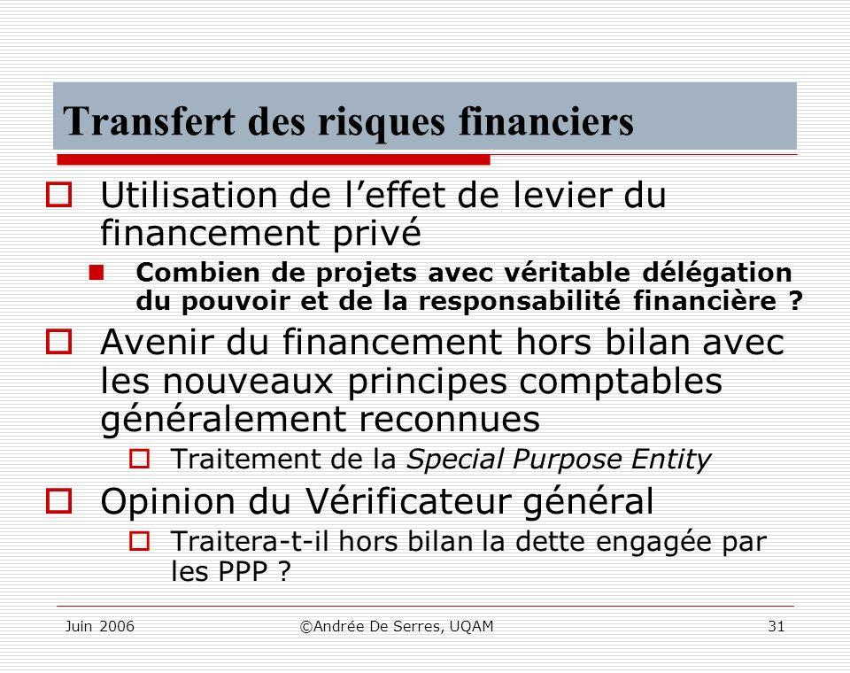 Juin 2006©Andrée De Serres, UQAM31 Transfert des risques financiers Utilisation de leffet de levier du financement privé Combien de projets avec vérit