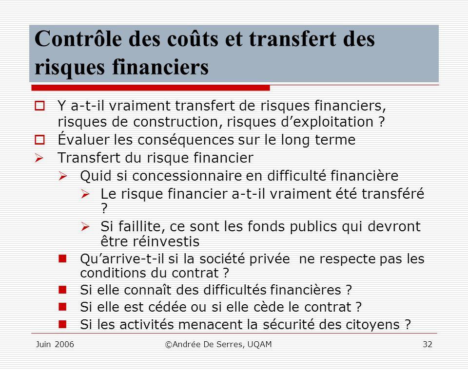 Juin 2006©Andrée De Serres, UQAM32 Contrôle des coûts et transfert des risques financiers Y a-t-il vraiment transfert de risques financiers, risques d