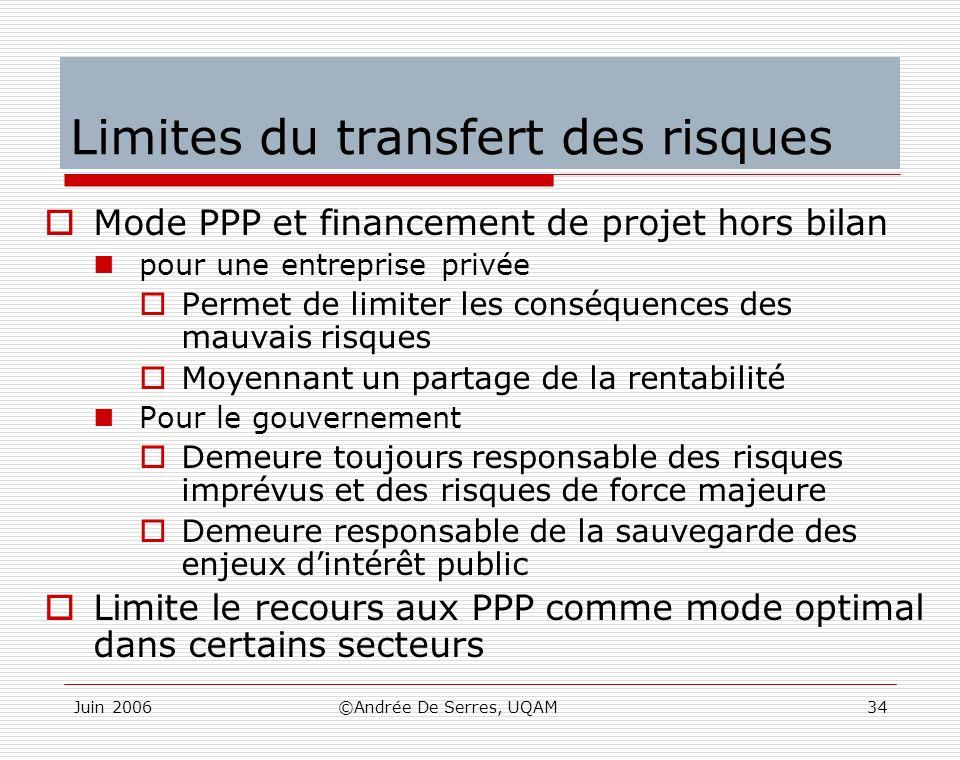 Juin 2006©Andrée De Serres, UQAM34 Limites du transfert des risques Mode PPP et financement de projet hors bilan pour une entreprise privée Permet de