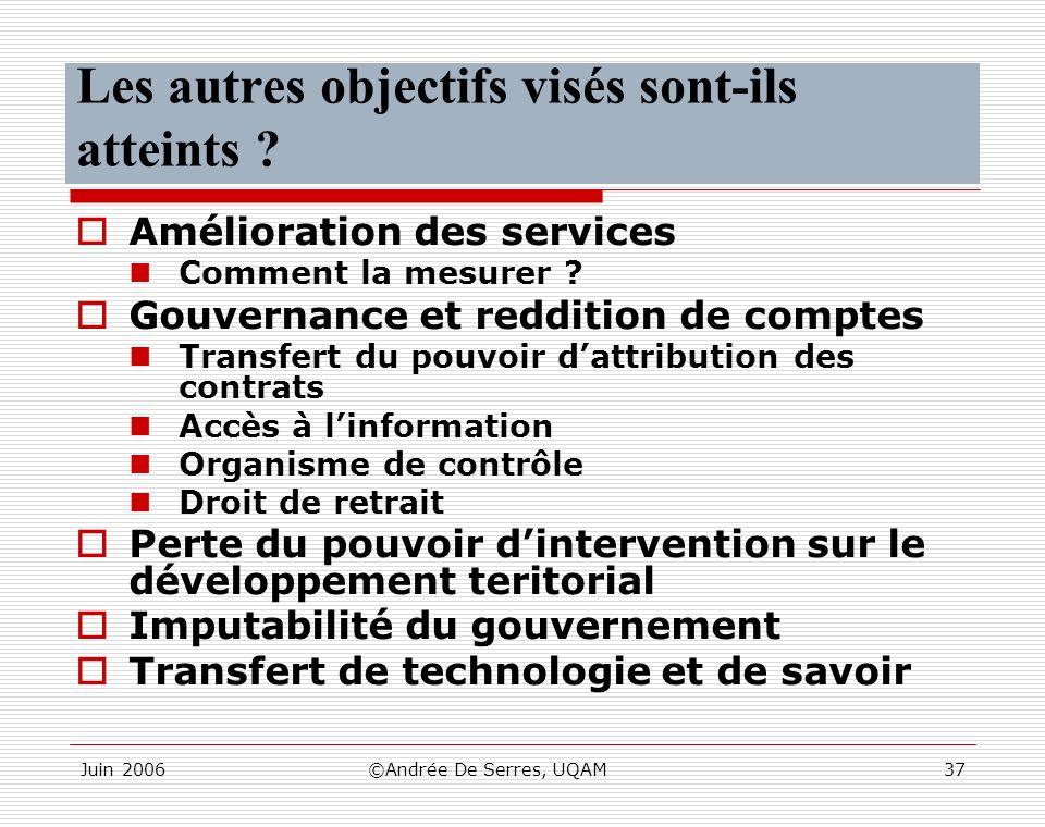 Juin 2006©Andrée De Serres, UQAM37 Les autres objectifs visés sont-ils atteints ? Amélioration des services Comment la mesurer ? Gouvernance et reddit