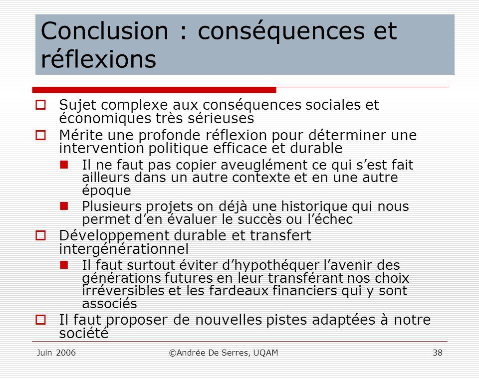 Juin 2006©Andrée De Serres, UQAM38 Conclusion : conséquences et réflexions Sujet complexe aux conséquences sociales et économiques très sérieuses Méri
