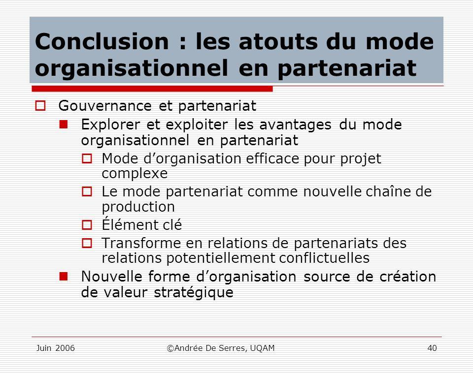 Juin 2006©Andrée De Serres, UQAM40 Conclusion : les atouts du mode organisationnel en partenariat Gouvernance et partenariat Explorer et exploiter les