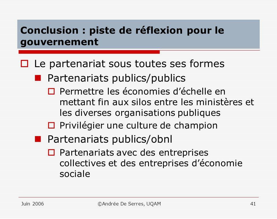 Juin 2006©Andrée De Serres, UQAM41 Conclusion : piste de réflexion pour le gouvernement Le partenariat sous toutes ses formes Partenariats publics/pub
