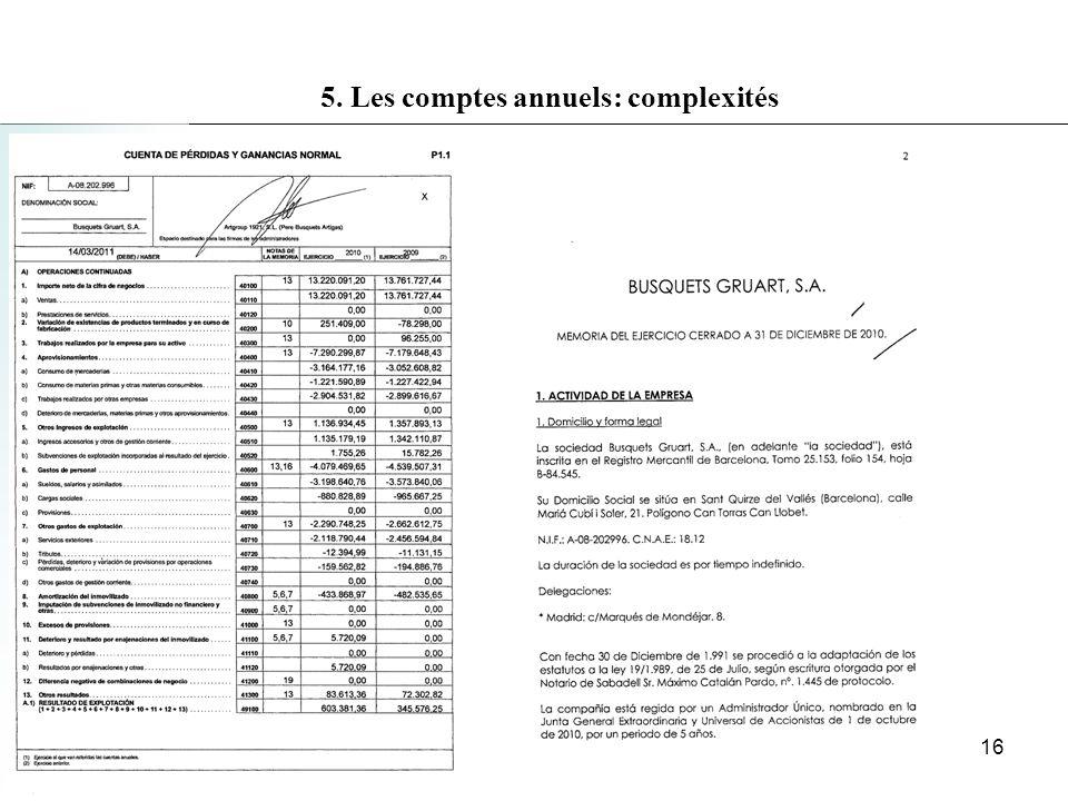 5. Les comptes annuels: complexités 16