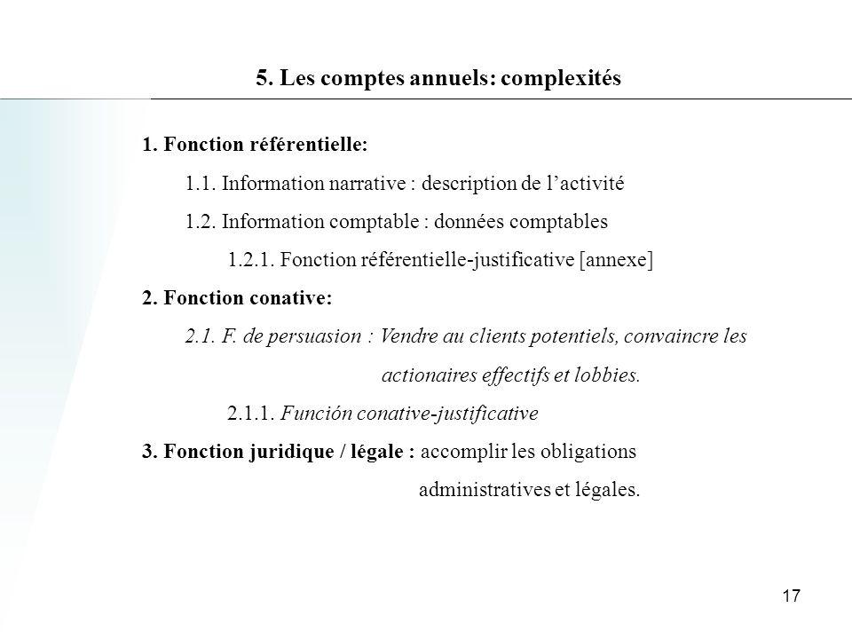 5.Les comptes annuels: complexités 1. Fonction référentielle: 1.1.