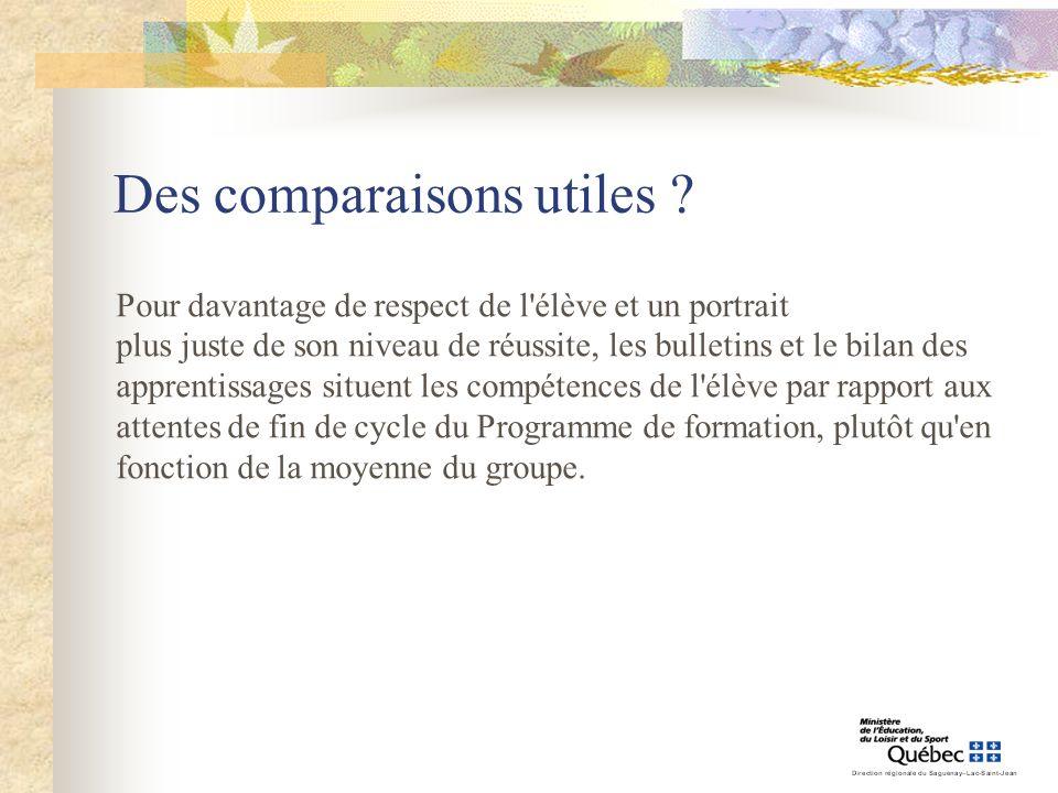 Des comparaisons utiles ? Pour davantage de respect de l'élève et un portrait plus juste de son niveau de réussite, les bulletins et le bilan des appr