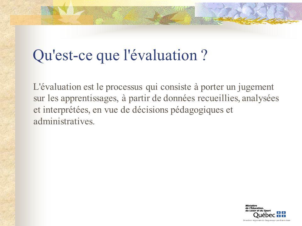 Qu'est-ce que l'évaluation ? L'évaluation est le processus qui consiste à porter un jugement sur les apprentissages, à partir de données recueillies,