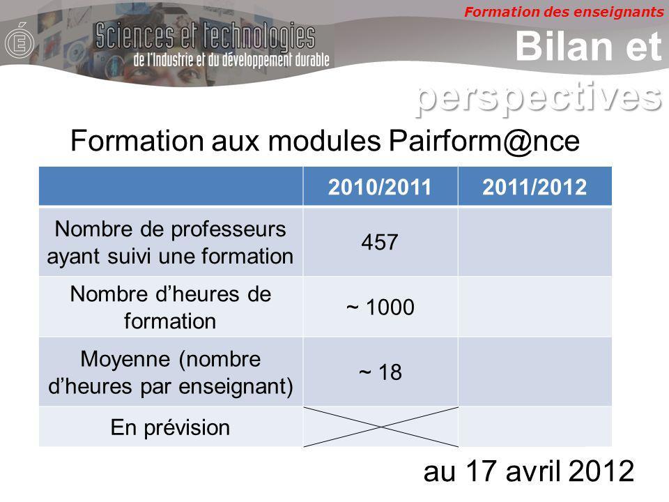 Formation des enseignants perspectives Bilan et perspectives 2010/20112011/2012 Nombre de professeurs ayant suivi une formation 457585 Nombre dheures de formation ~ 1000~ 260 Moyenne (nombre dheures par enseignant) ~ 18~ 6 En prévision.