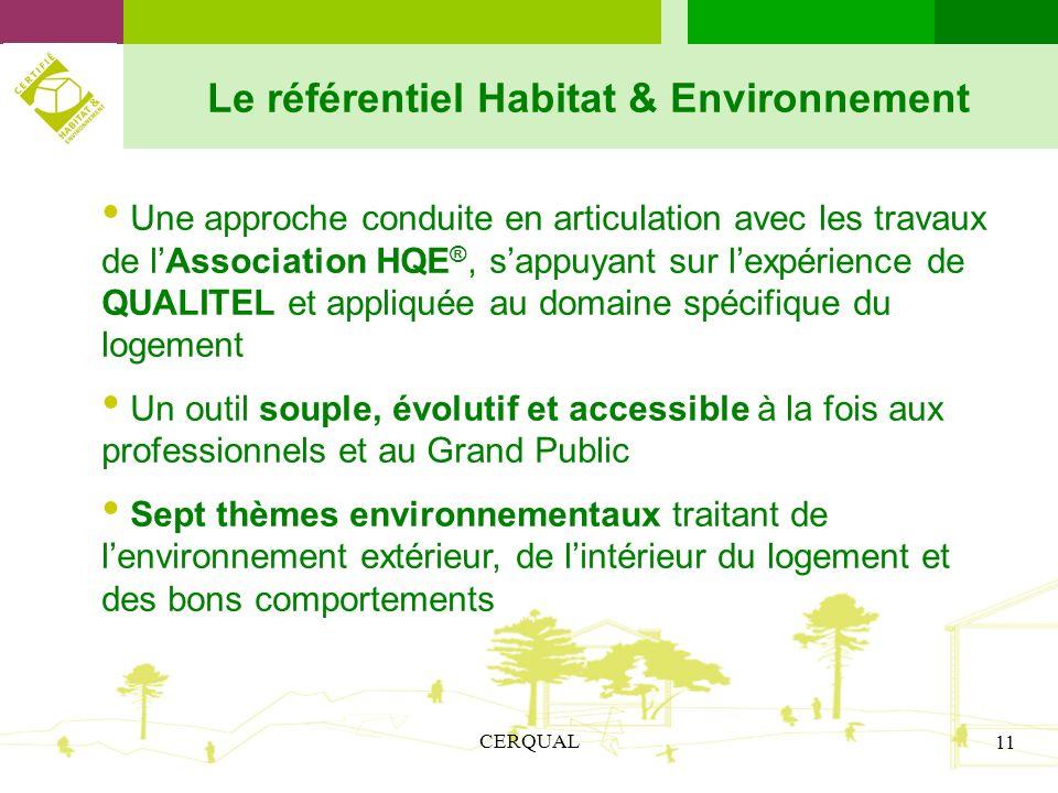CERQUAL 11 Le référentiel Habitat & Environnement Une approche conduite en articulation avec les travaux de lAssociation HQE ®, sappuyant sur lexpérie