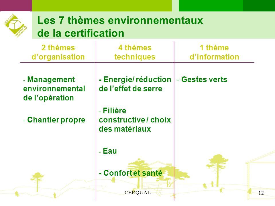 CERQUAL 12 Les 7 thèmes environnementaux de la certification 2 thèmes dorganisation 4 thèmes techniques 1 thème dinformation - Management environnemen