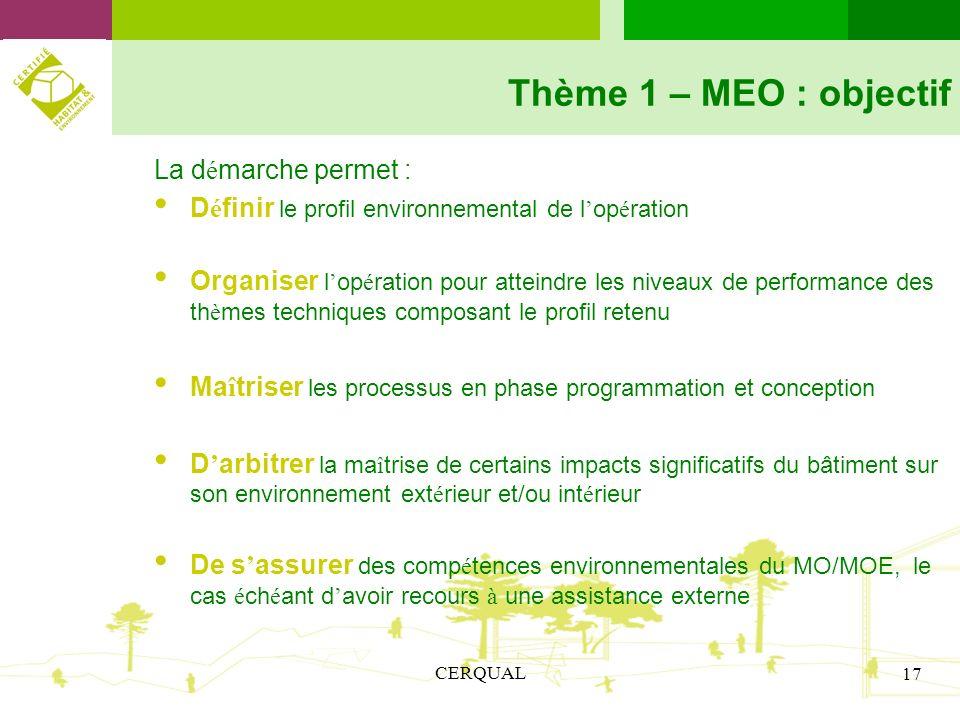 CERQUAL 17 Thème 1 – MEO : objectif La d é marche permet : D é finir le profil environnemental de l op é ration Organiser l op é ration pour atteindre