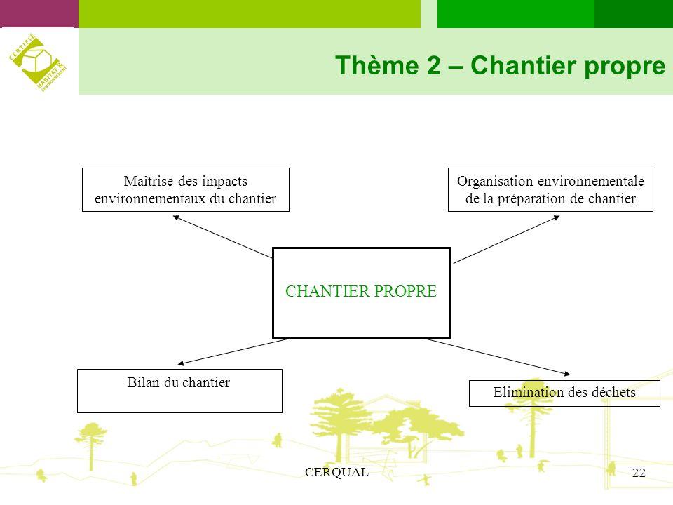 CERQUAL 22 Thème 2 – Chantier propre CHANTIER PROPRE Bilan du chantier Organisation environnementale de la préparation de chantier Maîtrise des impact