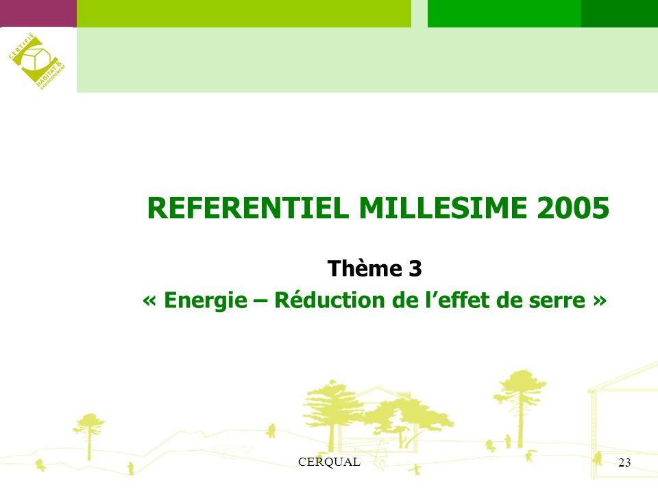 CERQUAL 23 REFERENTIEL MILLESIME 2005 Thème 3 « Energie – Réduction de leffet de serre »