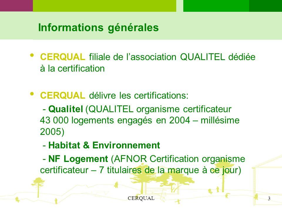 CERQUAL 3 Informations générales CERQUAL filiale de lassociation QUALITEL dédiée à la certification CERQUAL délivre les certifications: - Qualitel (QU