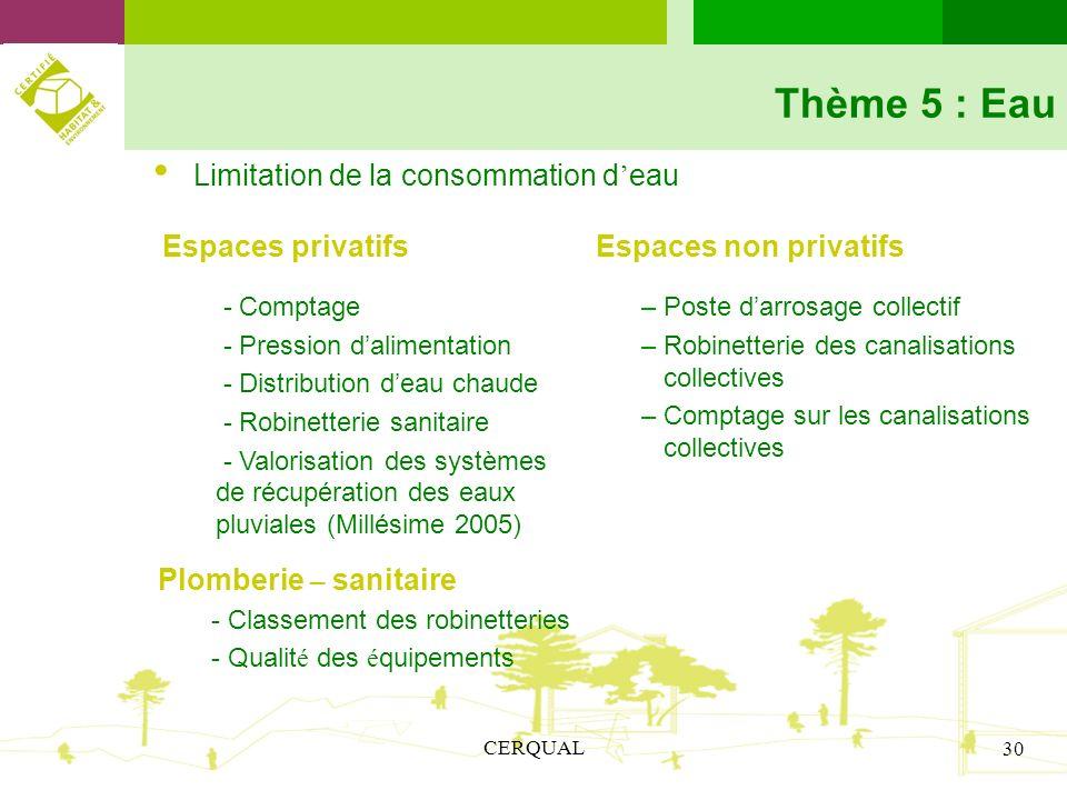 CERQUAL 30 Thème 5 : Eau Limitation de la consommation d eau Espaces privatifs Espaces non privatifs - Comptage - Pression dalimentation - Distributio